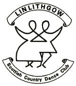Black writing on white background for Linlithgow Scottish Country Dance Club