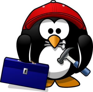 Cartoon penguin with hard hat and hammer