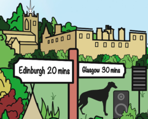 Picture of a Sign showing distance to Glasgow and Edinburgh from Linlithgow