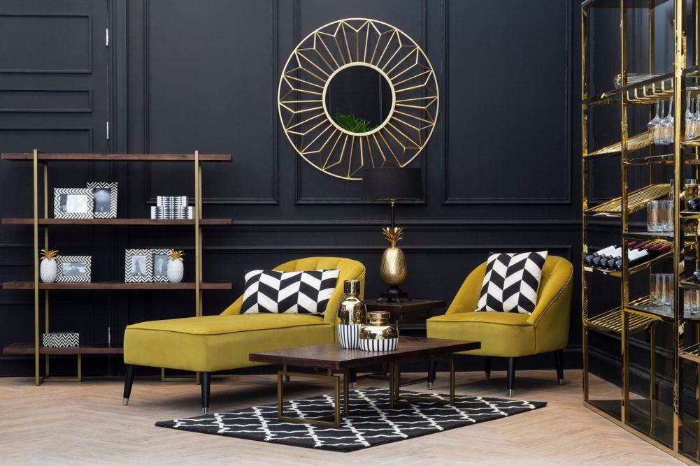Dark walls and gold furniture
