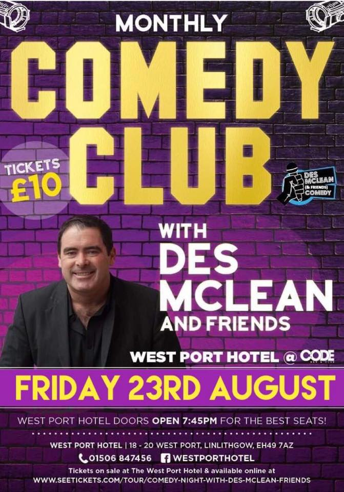 Des McLean Comedy Club August Poster