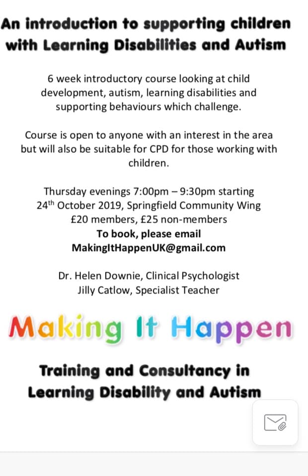 Course poster for supporting children with Learning Disabilities and Autism