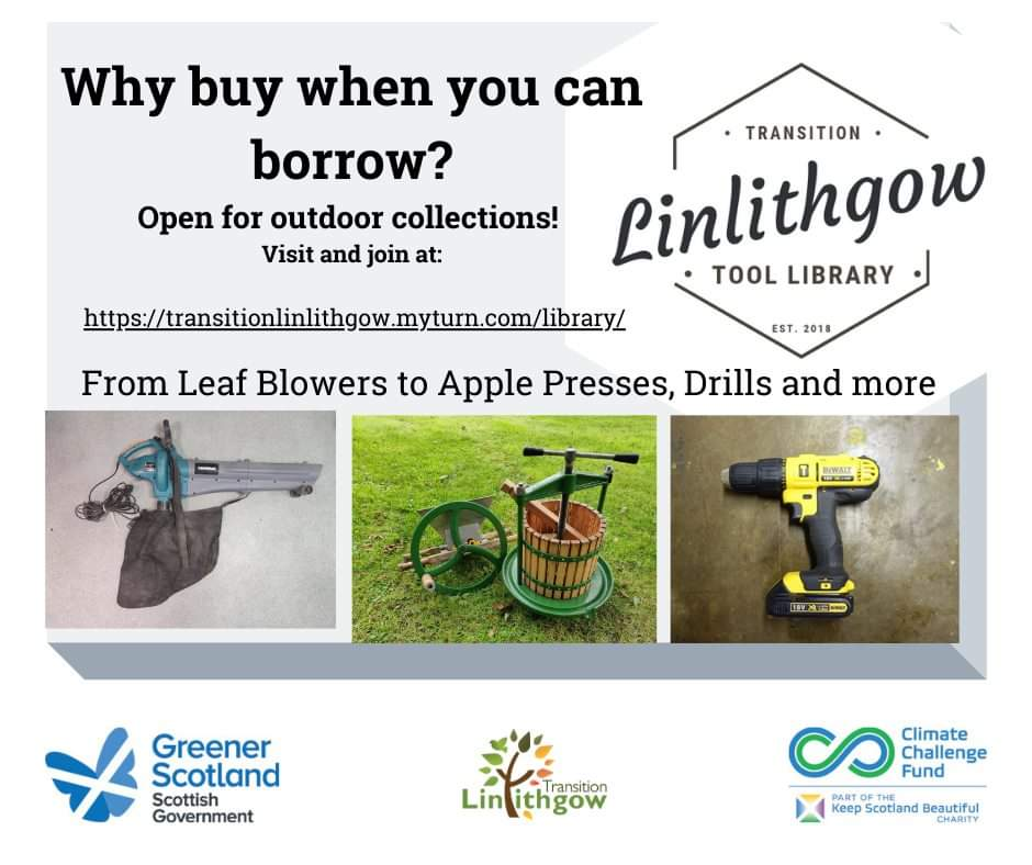 Community News 5th November: Linlithgow Tool Library is back open!